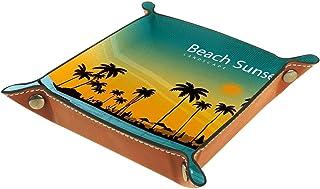 ATOMO Plateau de rangement en cuir - Paysage plage, coucher de soleil - Pour ranger des bijoux, des pièces de monnaie, des...
