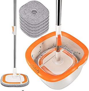360 Self-Wringing 2 in 1 Spin Mop and Bucket System with Wringer,Comb,6PCS Reusable Washable Refills,Telescopic Handle for...
