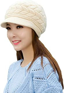 Slivery Color Womens Winter Warm Knitted Hats Slouchy Wool Beanie Hat Cap Visor