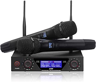 NASUM UHF Dual Channel Professional Handheld Wireless Microphone System with Dual..