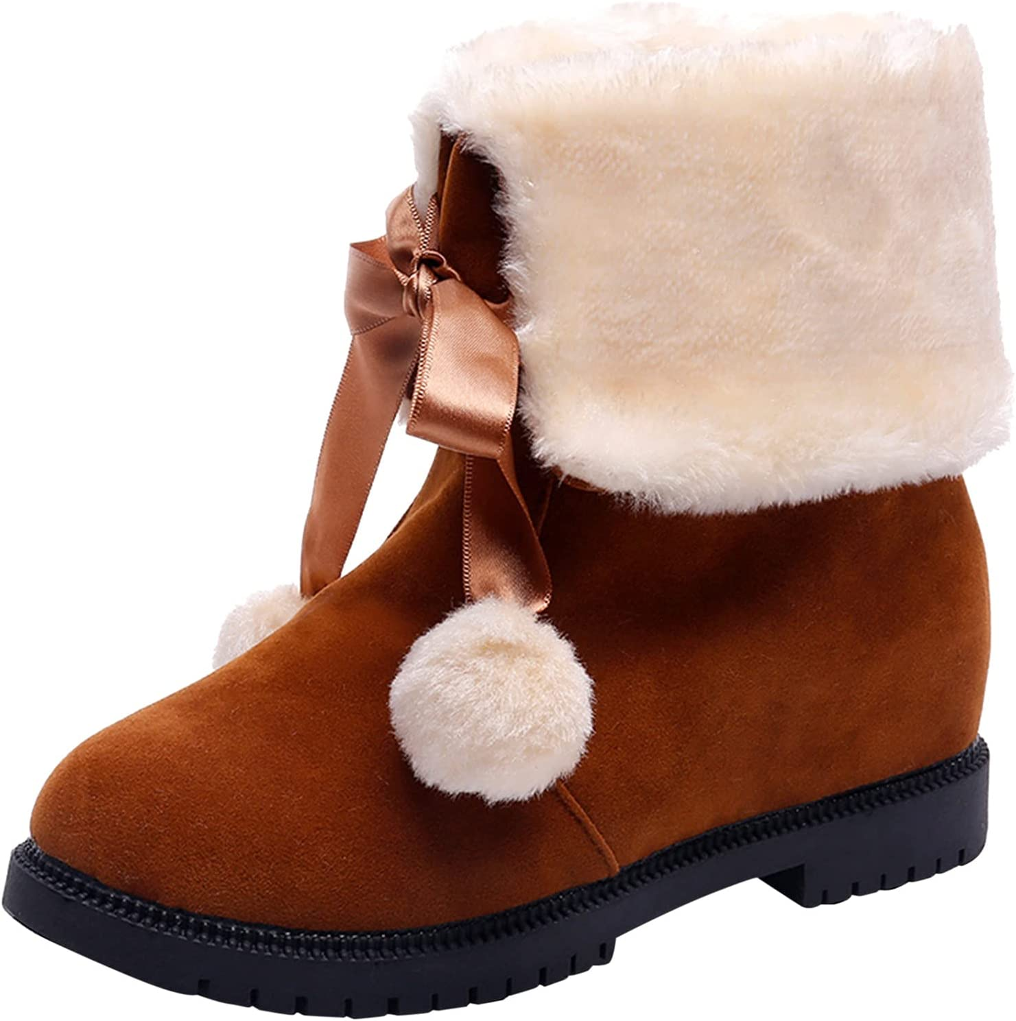 iCODOD Womens Ankle Boots Plush Snow Boots Low Heel Warn Winter Short Boots Cowgirl Boots Christmas Red Boots for Women