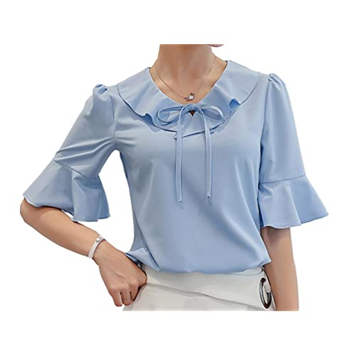 bc7ce7231f9 Women s Polyester Blouse Short Sleeve Tops Petite Elegant Shirt Clothing
