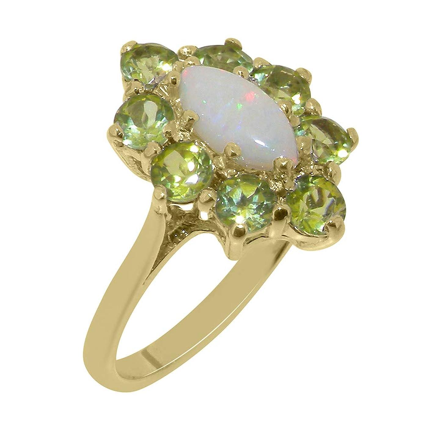 誰でも感性ジェスチャー英国製(イギリス製) K18 イエローゴールド 天然 オパール 天然 ペリドット レディースー クラスター リング 指輪 各種 サイズ あり