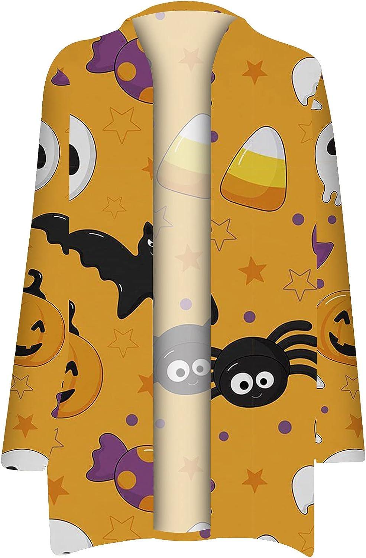 Halloween Cardigan for Women Pumpkin Long Sleeve Open Front Sweater Overwear Coat Sweatshirt Bat Witch Skull Cute Cat