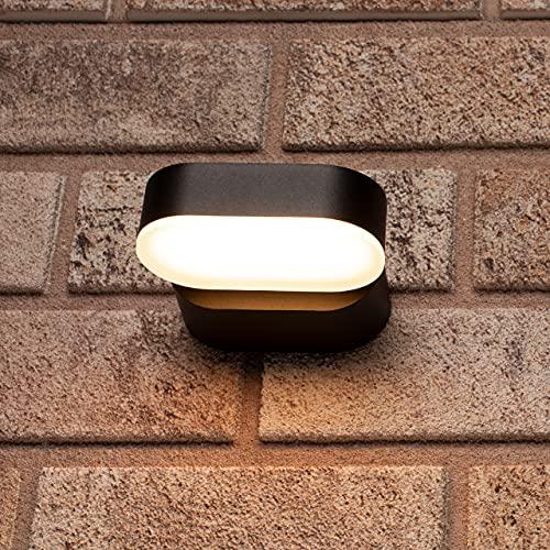 proventa® Aplique LED pared exterior 7.5W 260 lm IP54. Aluminio. Foco giratorio 340°. Luz blanca cálida 2.700K. Color negro