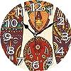 壁掛け時計10インチティキバー装飾装飾マスクデザインアフリカ原住民のアートパターン文化エスニックプリント多色サイレントホームオフィス装飾非カチカチ時計オフィス装飾