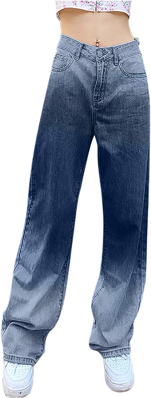 Women's High Rise Jeans Gradient Color Tie-Dye Print Jeans Pants Wide Leg Light Bell Bottom Denim Pants