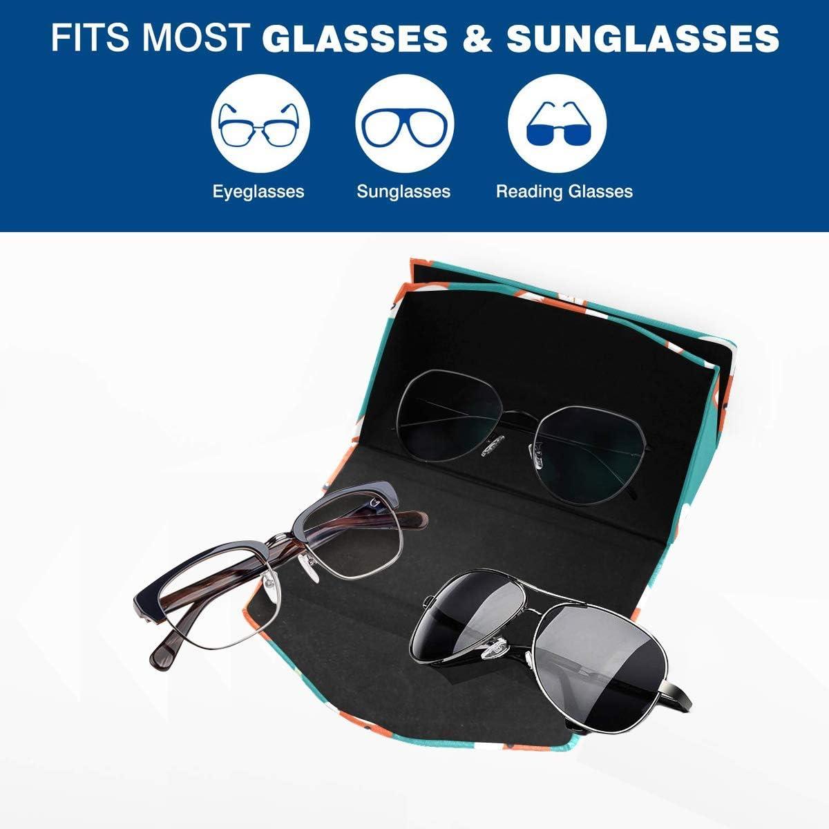 Glasses Case Cute Foxes Faces Eyeglass Case Leather Magnetic Folding Hard Case Sunglasses Eyewear Protective Case