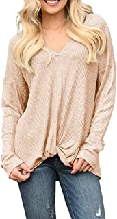 Soulomelody Womens V Neck Tunic Tops Tie Knot Waffle Knit Long Sleeve Casual Loose Blouse Shirt