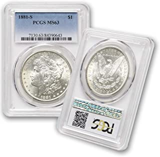 1881 S Morgan Silver Dollar $1 MS63 PCGS