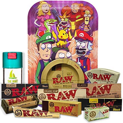 Bandeja para liar Mario y Luigi 27,5cm x 17,5cm + Cenicero RAW + Bote Antiolor THE BOAT + Maquina de liar 79mm + Papel Raw 1 1/4 Organic, Black y Classic + Tips Maestro, Orgánico y Classic.