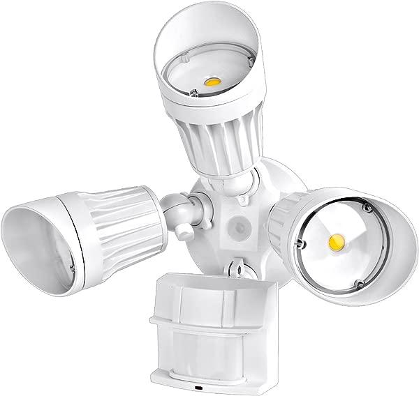 Hykolity 54W PIR Motion Detector LED Security Light Infrared Motion Sensor 5400lm Outdoor Wall Mount Floodlight 5000K Waterproof White 350W Halogen Equivalent Adjustable 3 Head