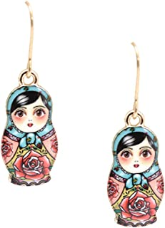 Spinningdaisy Folk Art Russian Doll Babushka earrings