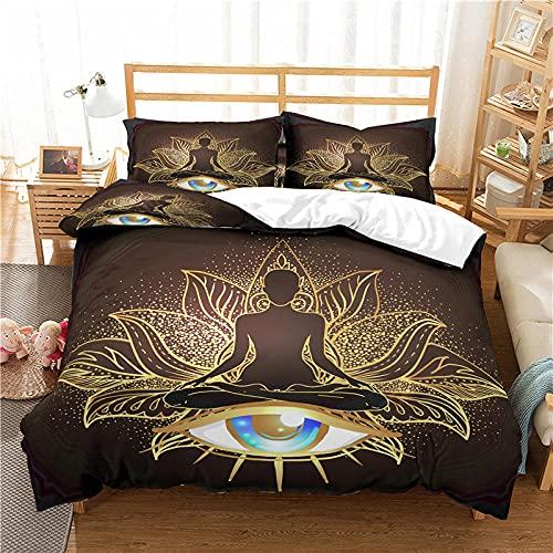 QDoodePoyer Bettwäscheset 135x200cm Mode Muster Charaktere Augen Anthrazit Bettwäsche Mikrofaser - 1 Bettbezug 135x200cm mit Reißverschluss + 2 x Kissenbezüge 80 x 80 Anthrazit