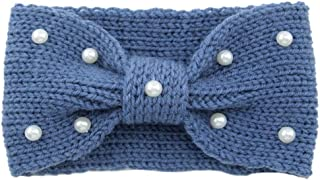 Snowlike Women's Hair Band Earmuffs Vintage Pearl Knit Hair Band Warm Wool Hair Ring Hand-Woven Headband