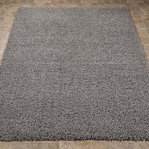 Sweet Home Stores Cozy Shag Collection Grey Solid Shag Rug (5'0