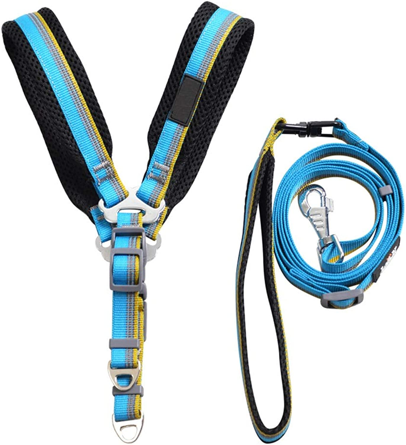 Pet Leash Dog Lead Walking Soft Handles Adjustable Dog Harness Set Safety Collar Harnesses Traction Rope (Size   L)