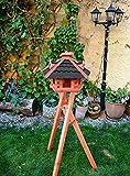 BTV Vogelhaus -Holz Nistkästen & Vogelhäuser- Gartendeko aus Holz BG40atMS Vögel mit Ständer, Futterhaus, schwarz anthrazit