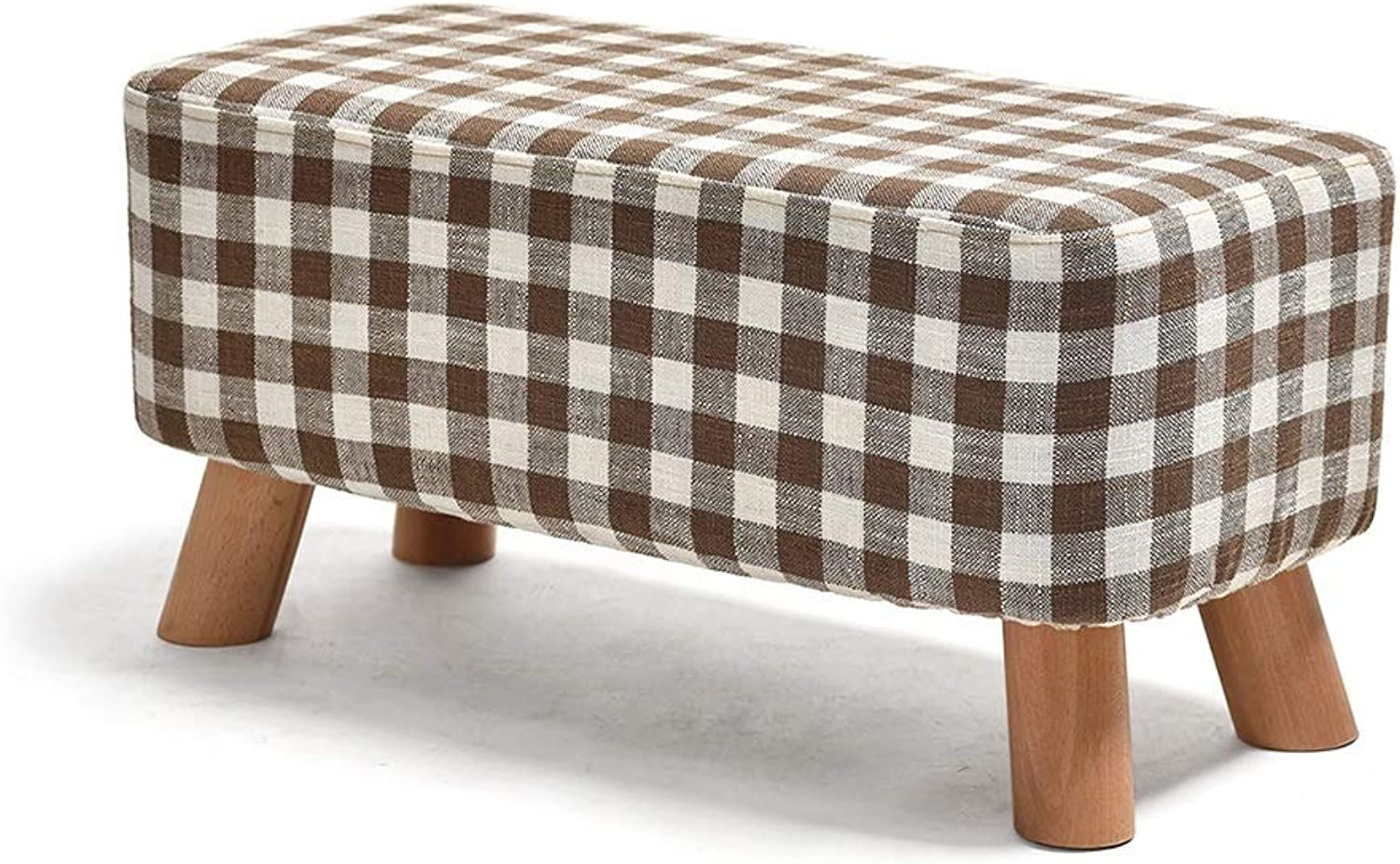 Footstool, Rectangular upholstered Sofa Footstool Solid Wood Square Fabric Bedroom Living Room 4 Legs HPLL (color   4, Size   57  29  28cm)