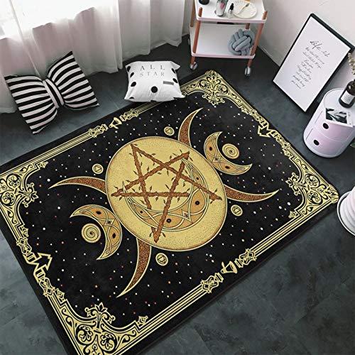 OHMGD Triple Moon Symbol Goddess Celtic Wicca Horned God Mandala Area Rug Non Slip Comfort Yoga Mat Floor Carpet Home Decor for Living Room Bedroom 80x58 inch