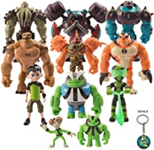 Ben 10 Action Figure Kids Toys – 11-Piece Ben Ten Figurine Set with Keychain Included – Safe and Durable – Favorite Characters Ben Tennyson Grey Matter Heatblast, Humongousaur, Rath, Vilgax