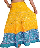 Exotic India Bandhani Tie-Dye Skirt from Jaipur with La - Color Yellow and Blue