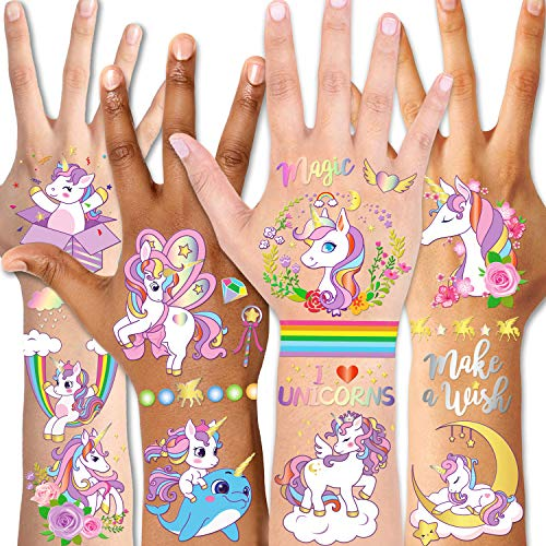 Qpout Tatuaggi temporanei per bambini, tatuaggi glitterati unicorno per compleanno bambini ragazze bambini accessori per feste goodie bag stuffers rie