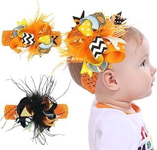 عصابة رأس للفتيات الصغيرات في الهالوين، قطعتان من إكسسوارات ربطة شعر مرنة لتغطية الرأس للرضع والأطفال الصغار