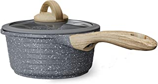 JEETEE 2.3 Quart/ 8 Inch Nonstick Sauce Pan with Lid, Granite Stone Coating Saucepan with Pour Spout, Small Soup Pot Milk ...