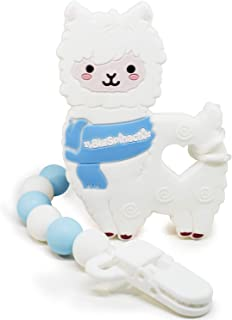BIGSPINACH Soft Silicone Baby Teether Toy Smoothes Gum Texture for Boys or Girls, 1 Set of White Alpaca Pacifier Clip Holder, It Has a Unique Love and Warm Scarf Design