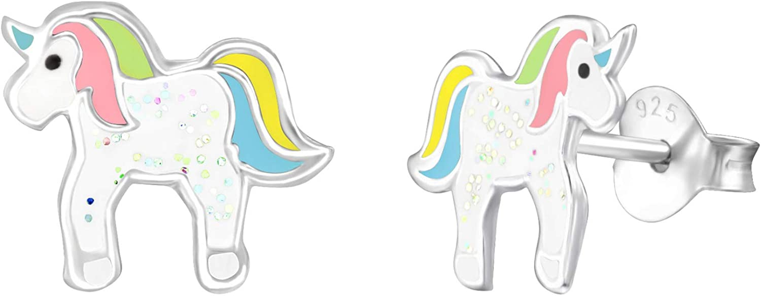 Sterling Silver Unicorn Epoxy Stud Back Animer and price revision Earrings Push with Max 53% OFF