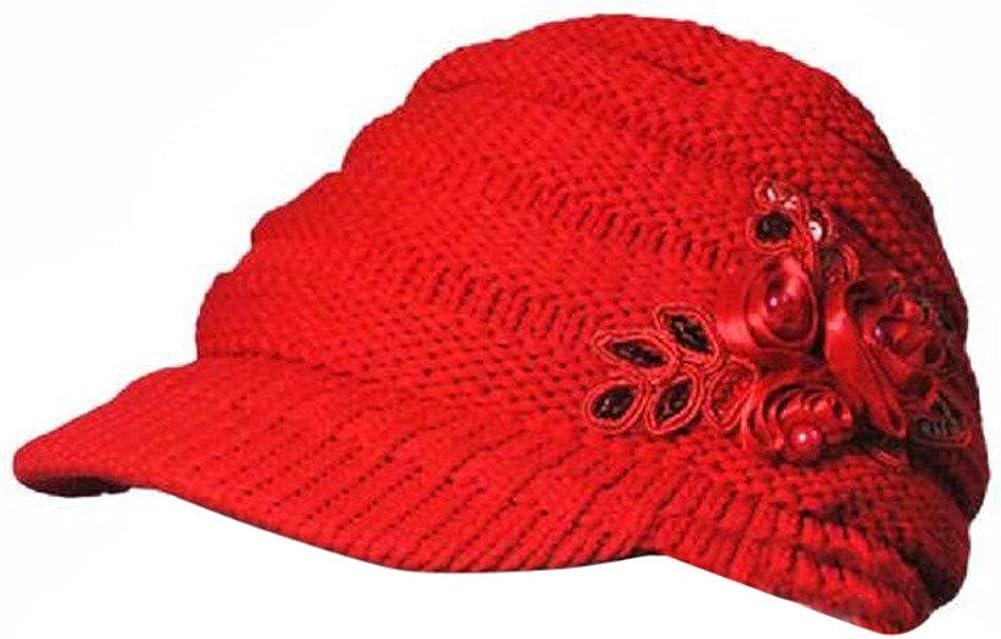 TWGONE Korean Version Womens Cap Winter Ladies Hat Brim Sequin Applique