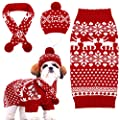 Frienda Christmas Dog Clothes Set Knit Cat Costume Reindeer Snowflake Dog Hats Dog Vest Dog Scarf Xmas Dog Sweater Holiday Winter Dog Shirts Red and White Pet Accessories for Dogs Puppy Kitten