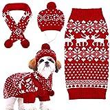 Set de Ropa de Navidad de Perro Disfraz de Gato Tejido Gorro de Perro de Copo de Nieve Reno Chaleco Bufanda Suéter de Perros Camisas de Perro de Invierno Accesorios de Mascota Rojo y Blanco