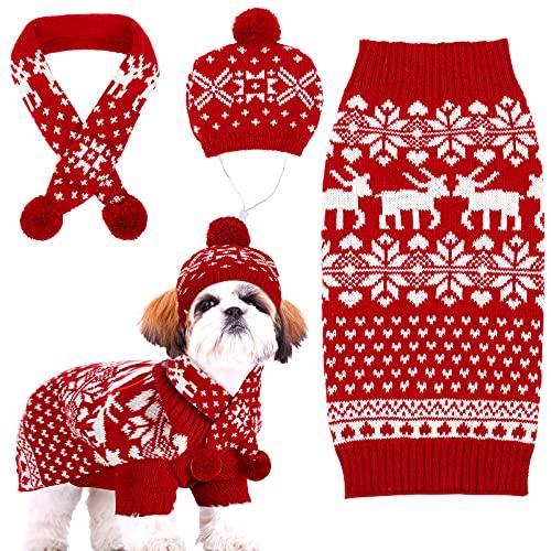 Set de Ropa de Navidad de Perro Disfraz de Gato Tejido Gorro de Perro de Copo de Nieve Reno Cha...