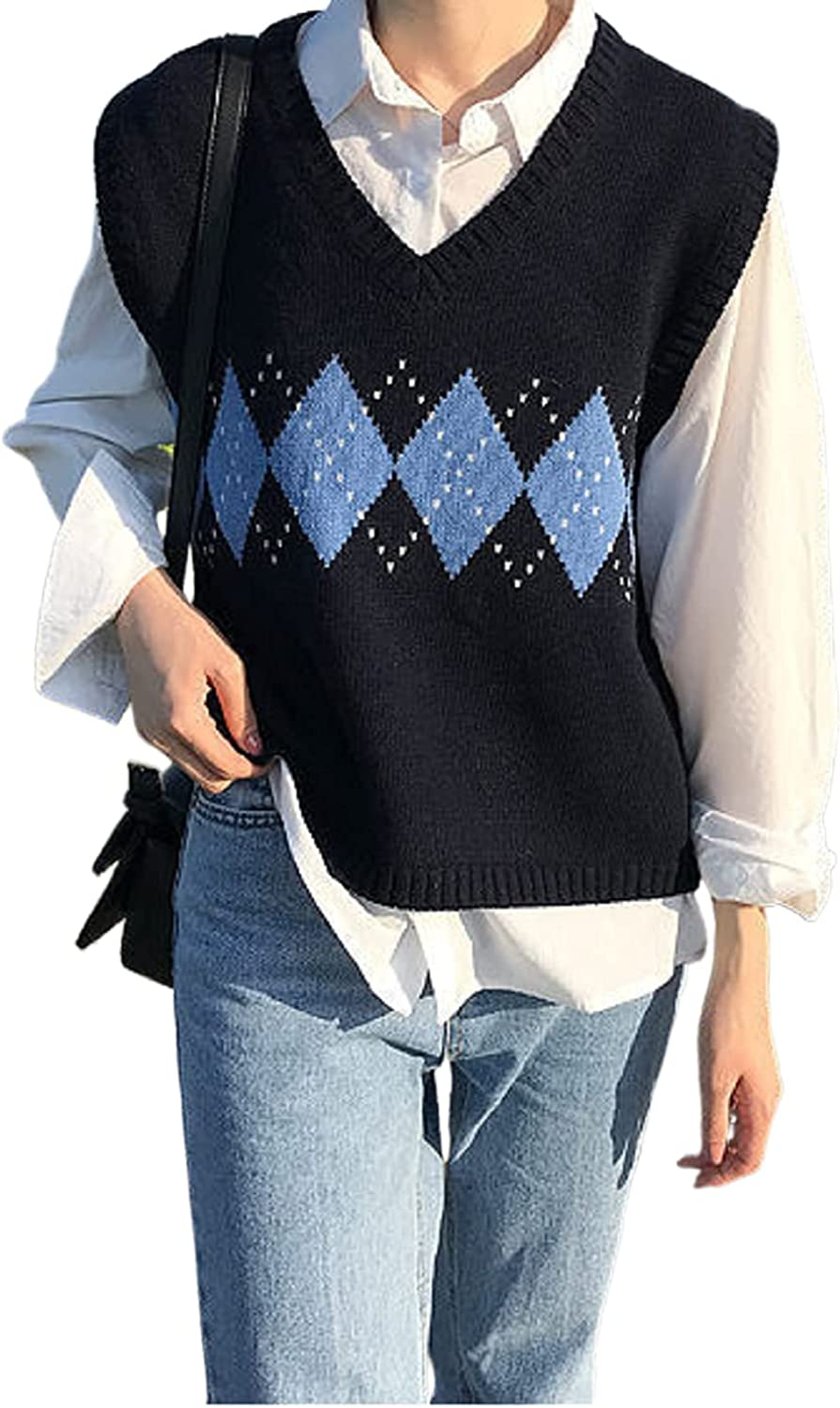 Women's Y2K Sleeveless V-Neck Argyle Plaid Knit Vest Sweater College Style Loose Sweater Tank Top Pullover