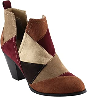 Nature Breeze FF46 Women's Slip On Patchwork Chunky Block Heel Ankle Booties, Color:TAN MULTI, Size:6