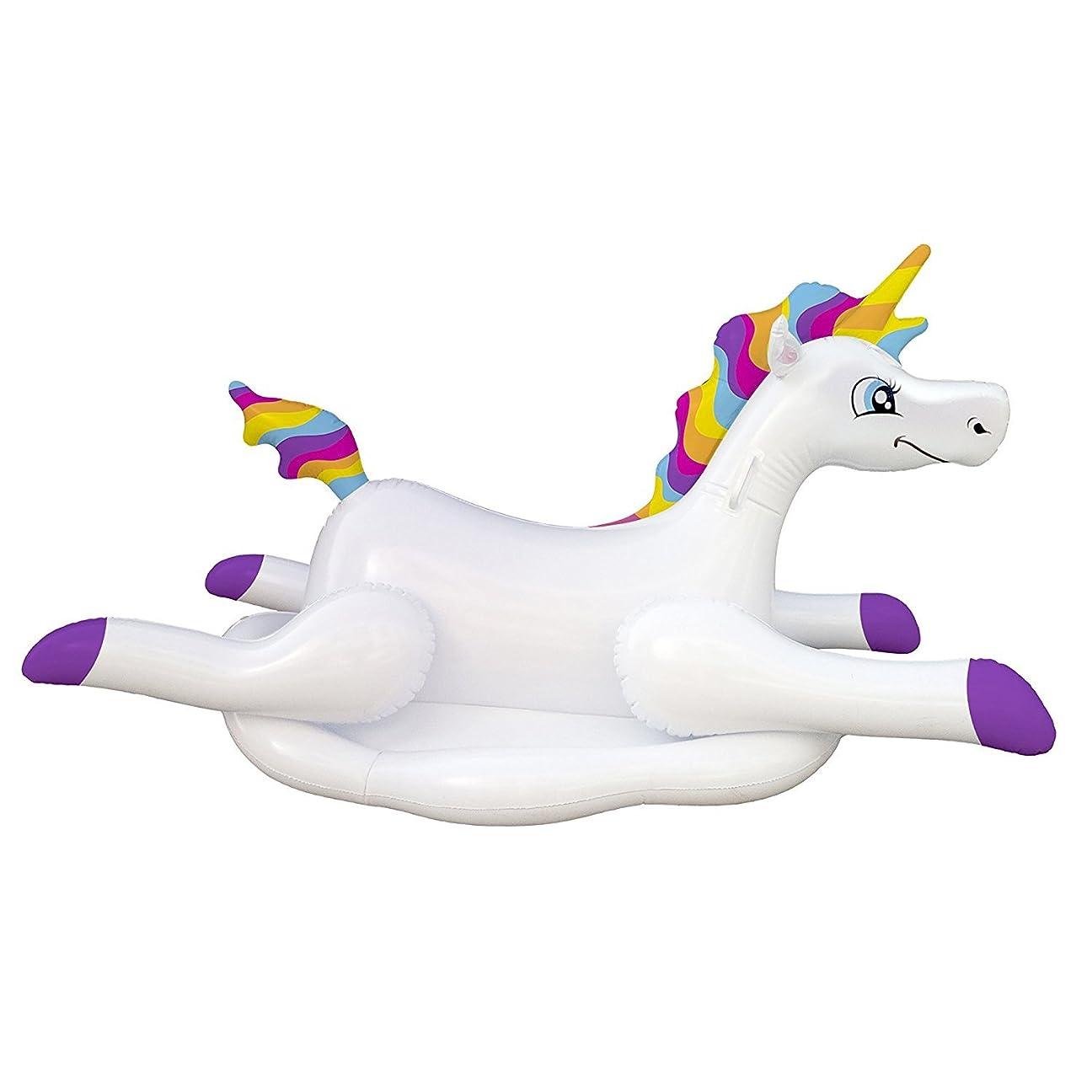 レトルトリストヒールBlue Wave Cloud Rider Rainbow Unicorn Inflatable Ride-On Pool Float [並行輸入品]