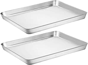 Baking Sheet Cookie Sheet Set of 2, Umite Chef Stainless Steel Baking Pans Tray Professional 9 inch, Non Toxic & Healthy, ...