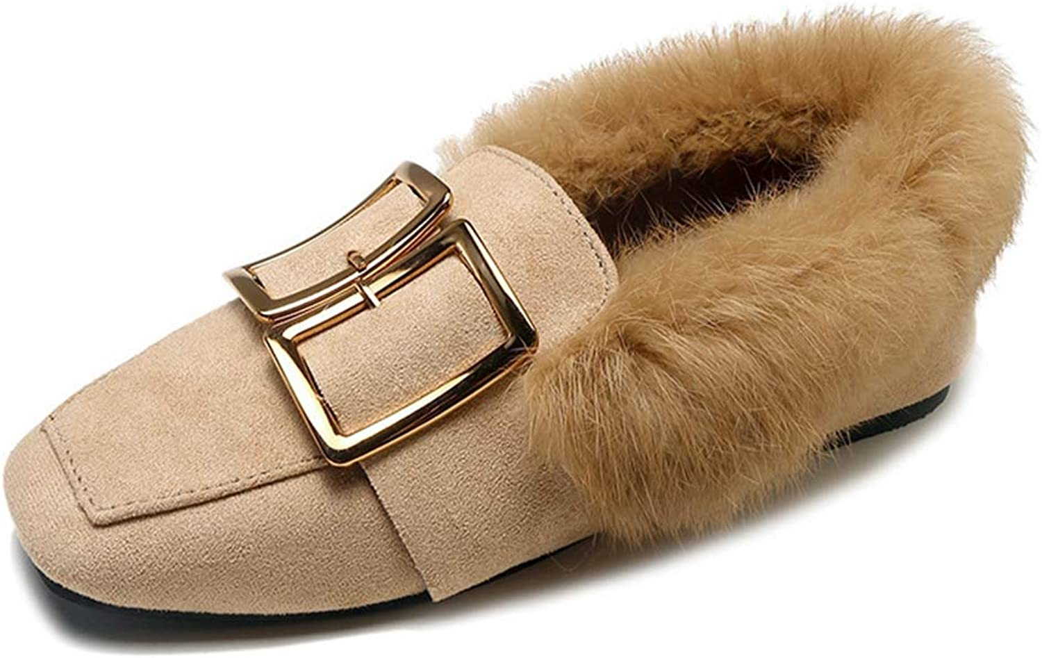 CYBLING Women's Faux Fur Lined Suede Loafers Comfort Metal Accent Slip-on Moccasins