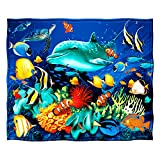 Dawhud Direct Super Soft Plush Dolphin Reef Fleece Throw Blanket