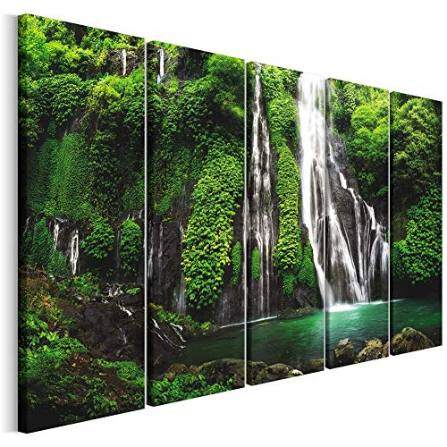 Revolio - Cuadro en Lienzo - impresión artística - 5 Partes - Decoracion de Pared - XXL - Tipo C - Tamaño: 300 x 140 cm - Cascada Selva Verde