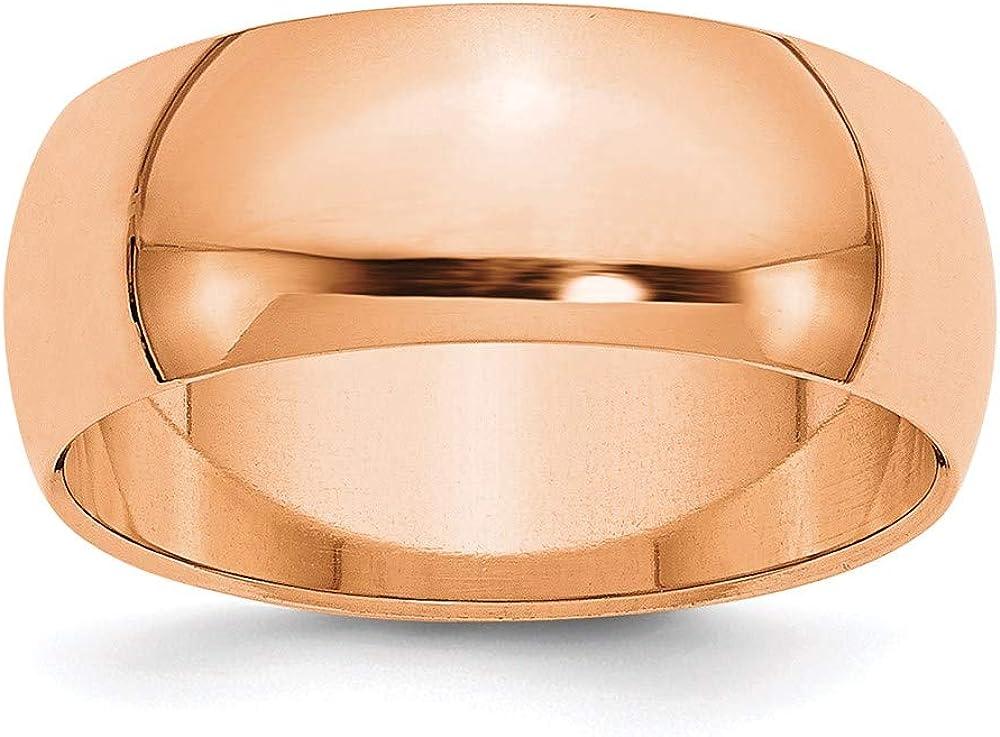 14k Rose Gold 8mm Half-Round Wedding Band style RHR080-7