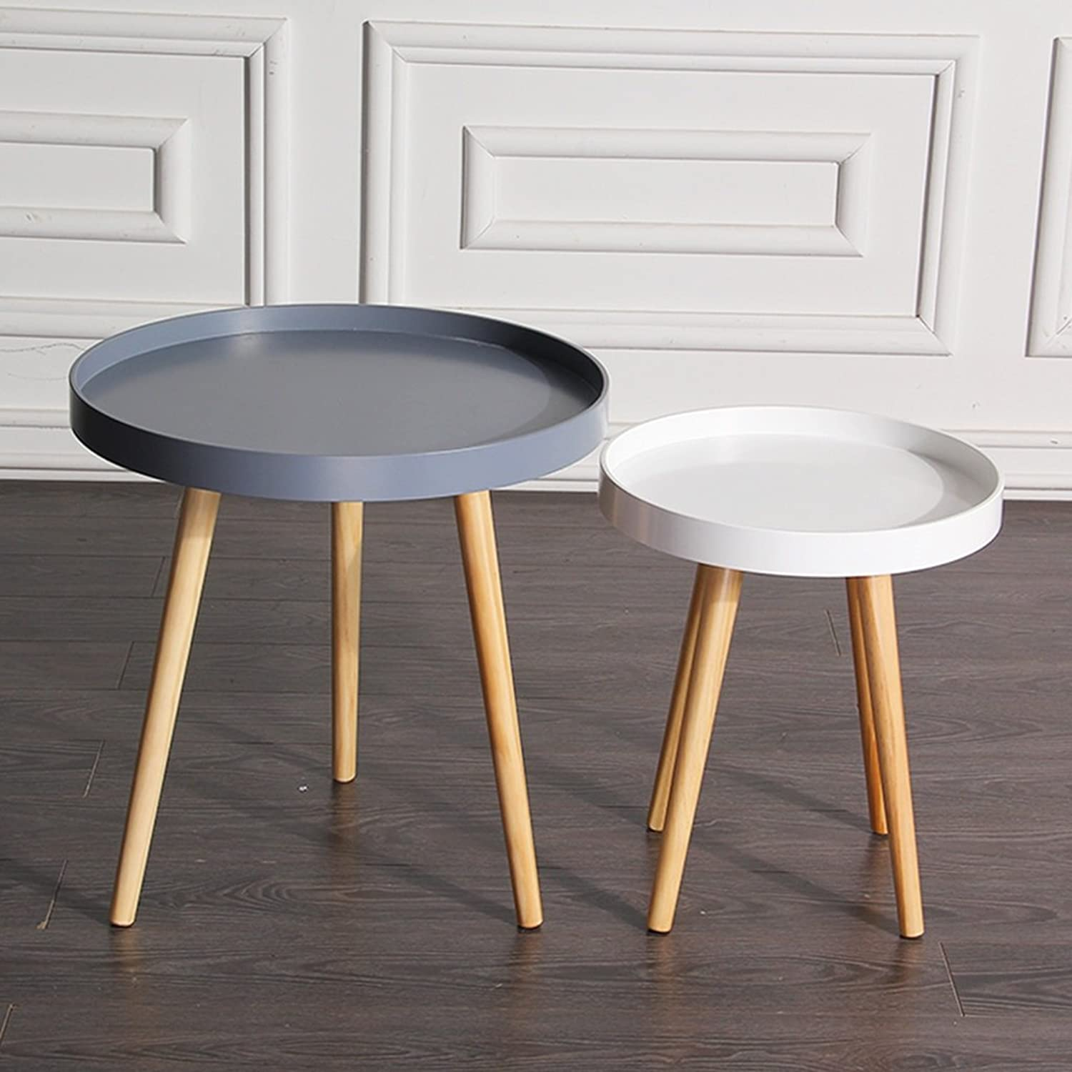 End Tables Coffee Table Round Table Sofa Small Side a Few Corner Tables Small Round a Few Small Tables Solid Wood Legs Desktop Edge Design, 1 Large +1 Small (color   Grey 50  50cm+White 38  38cm)