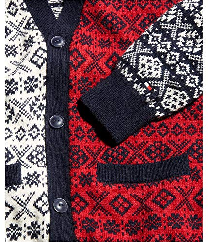 Tommy Hilfiger New RED FAIR ISLE Color Blocked Knitted Cardigan Sweater SZ L