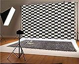 Coloridos telones de fondo de vinilo para fotos de 7 x 5 pies, patrón a cuadros blanco y negro con puntos de colores vivos, fondo geométrico moderno para selfies, fotos de fiesta de cumpleaños