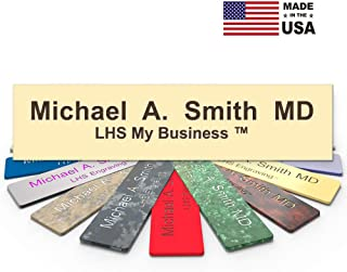 LHS My Business   Engraved Desk Name Plate Personalized Ivory Plastic Office Sign Brown Letters   USA Desk Decor 2x10 - B5