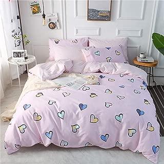 OTOB Cartoon Heart Cotton Girls Bedding Duvet Cover Set for Kids Adult with Hidden Zipper Closure 4 Corner Ties-Soft,Durable,Fade Resistant, Reversible Print Pink Blue Bed Sets, Full/Queen