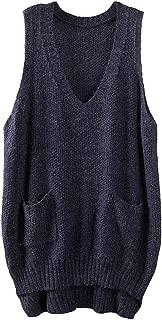 Women's Deep V-Neck Sleeveless Knitted Hi Low Sweater Vest