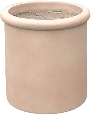 Kante RC0068B-C70381 Lightweight Concrete Outdoor Round Classic Planter, Desert Sand